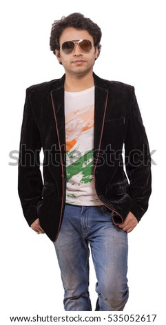 indian model wearing black blazer with goggles