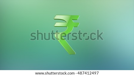 Indian Rupee Color 3d Icon on gradient background