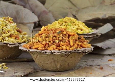 Indian special traditional salty food mixture namkeen