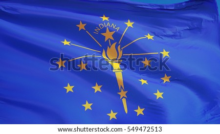 Indiana (U.S. state) flag waving against clear blue sky, close up, isolated with clipping path mask alpha channel transparency, perfect for film, news, composition