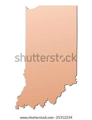 Indiana Usa Outline Map Shadow Detailed Stock Illustration - Indiana us map