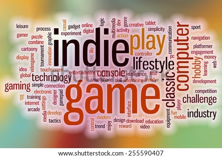 Indie game word cloud concept with abstract background