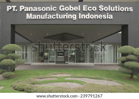 Indonesia, Bekasi - December 18, 2014: Close up on PT. Panasonic Gobel Eco Solutions Manufacturing Indonesia sign in plant during working hour