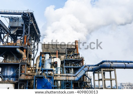 Industrial cooling tower of smoke pollution in the steel mill