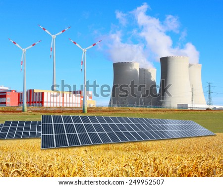 Industrial landscape with different energy resources. Sustainable development.
