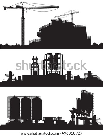 industry area. Construction Site, power plant and refinery.