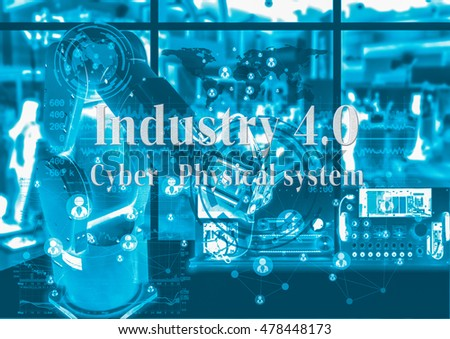 Industry 4.0 concept image. Robot arm and industrial instruments in the factory with cyber and physical system icons and Industrial 4.0 message.