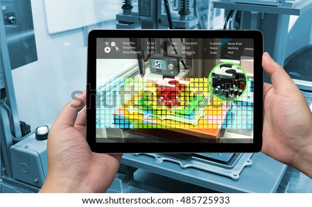 industrial 40 augmented reality concept hand stock photo. Black Bedroom Furniture Sets. Home Design Ideas