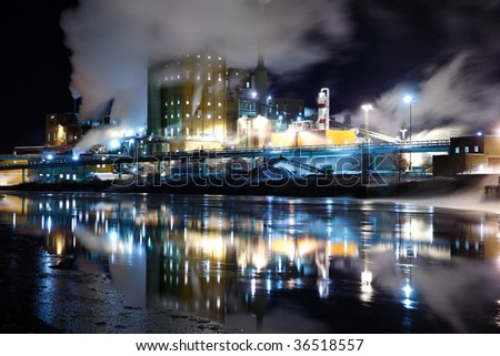 Industry photographed at night