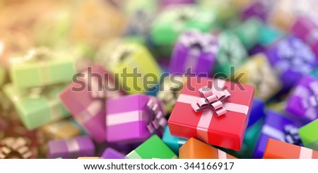 Infinite gift boxes, original 3d illustration