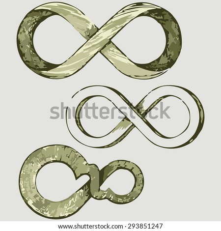 Infinity symbol. Shades of green and yellow. Raster version