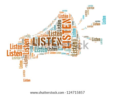 Info text graphic Listen in loud haler word cloud isolated in white background