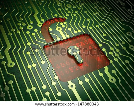 Information concept: circuit board with Opened Padlock icon, 3d render