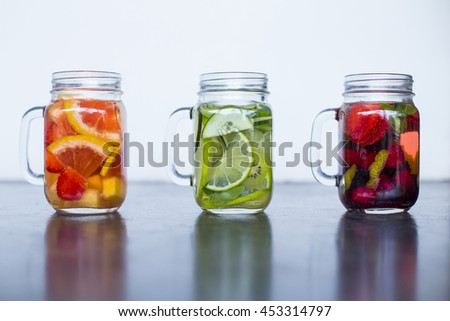 Infused water in mason jars. Healthy and fresh trend for the summer.