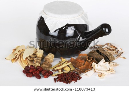 ingredients for a acupuncture treatment around the black kettle containing the herbal drink