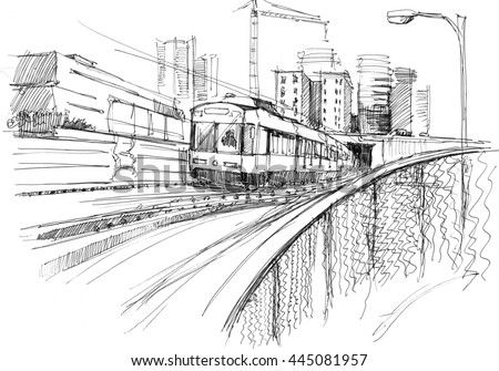 Ink sketch of a underground train coming from tunnel