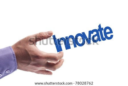 Innovate word in male hand