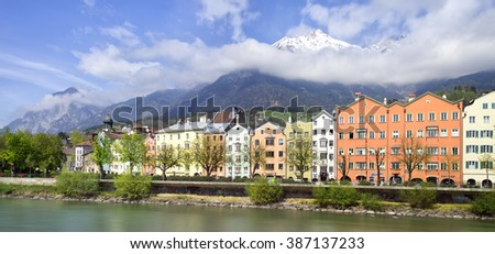 INNSBRUCK, AUSTRIA -?? APRIL 04: View to the historical Innsbruck houses on April 04, 2014 in Innsbruck. Innsbruck is an internationally renowned winter sports centre, and hosted 1964 Winter Olympics