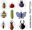 Insects on a white background, raster - stock photo