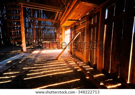 Inside Old Barn Stock Photo 348222713