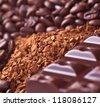 Instant coffee granule with coffee beans and chocolate - stock photo