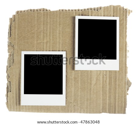 Instant photos on a cardboard background