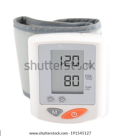 instrument for measuring blood pressure. The display shows the ideal blood pressure 120/80