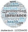 insurance info-text graphics and arrangement concept on white background (word cloud) - stock photo
