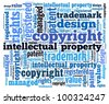 Intellectual property and related words in word collage - stock photo