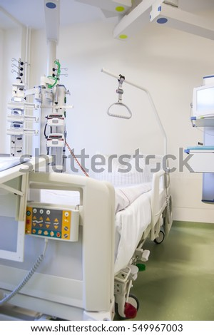 Intensive care unit and trauma care unit of a hospital's emergency department. Modern hospital-surgery bed.