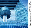 interesting fragment of futuristic building - stock photo