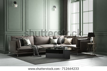Interior classic living, retro classical style, with loose furniture, 3D  rendering, 3D