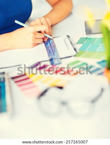 Messy Desk Filled Documents Notes Pens Stock Photo