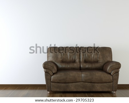 interior design brown leather couch on white wall with copy space