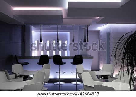 interior design of a bar