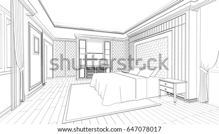Interior Design Of Modern Classic Style Bedroom, 3D Outline Sketch,  Perspective