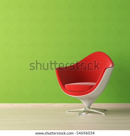 interior design of red chair against a vibrant green wall with copy space on the top left corner