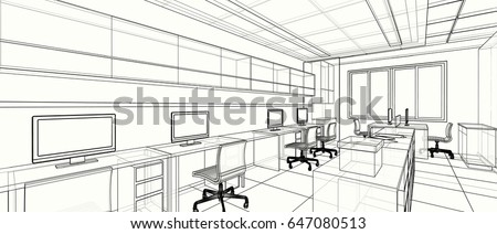 Interior Design Office Sketches interior design classic style kitchen modern stock illustration