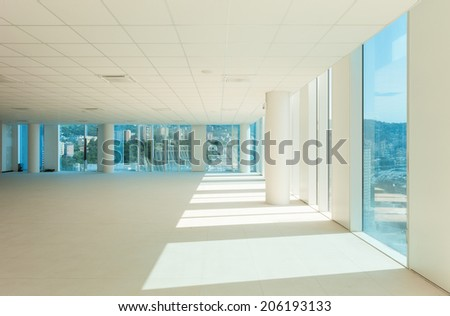 Interior, glass wall in the office building