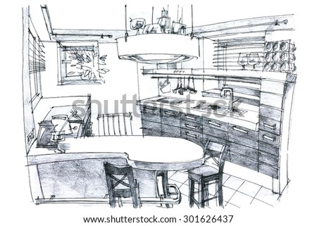 Sketches Of Modern Kitchen Utensils : ... of designers desk with childrens room sketch and drawing tools
