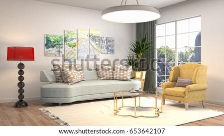 Interior Living Room. 3d Illustration Part 70