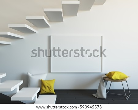 Interior Mockup Illustration With Decor 3d Render White Wall Blank Board