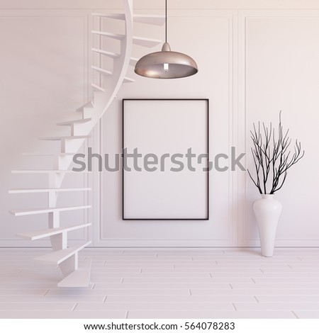 Interior Mockup Illustration With Spiral Staircase 3d Render White Wall Blank Board