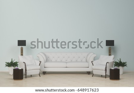 interior modern living clean wallwhite sofa and armchair on wood floorcarpet and