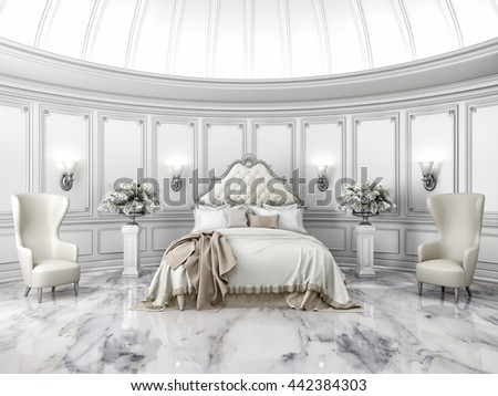 Interior of a classic style round bedroom in luxury villa. 3D Rendering.