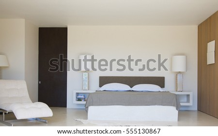 Interior of a hotel bedroom. Classical bedroom interior