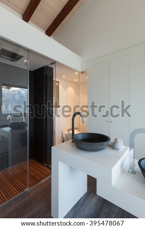 Interior of a loft, bathroom modern design, sink and shower
