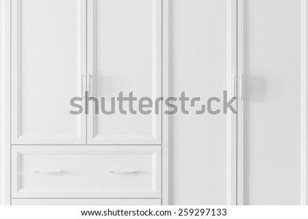 Interior of a new empty house with wardrobe and drawer, dressing room