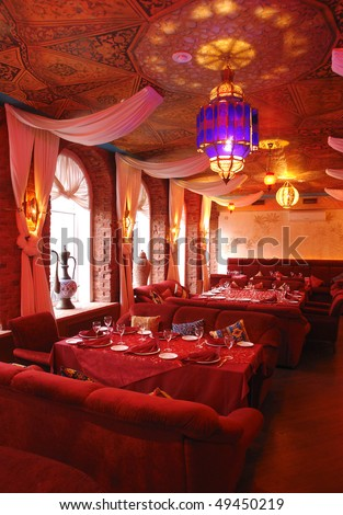 interior of a restaurant in red color