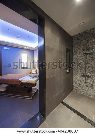 interior of a room for oriental massage with shower